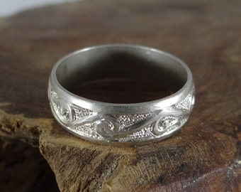 Hand Forged and Engraved Sterling Silver Ring