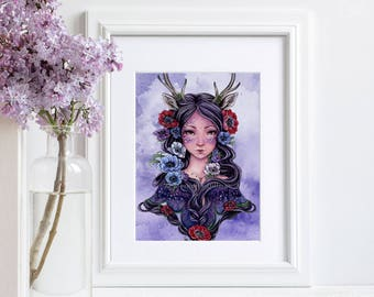 Faun girl Art, fantasy print, purple, anemone flowers Meredith Dillman