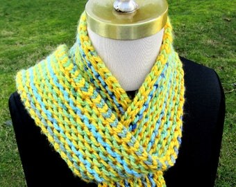 Double Garter Stripes Scarf Digital Download Knitting Pattern 3 sizes Reversible Soft Colorful Cozy Warm