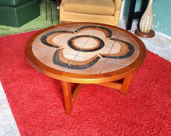 Mid Century Danish Style Teak Round Tile Inlay Top Coffee Table