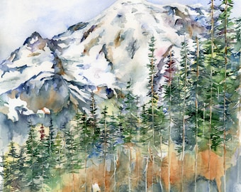 Watercolor Original Mt. Rainier Painting, Sunrise, Mountain Wall Hanging, Washington State, Cascades Mountains, Hiker's Gift
