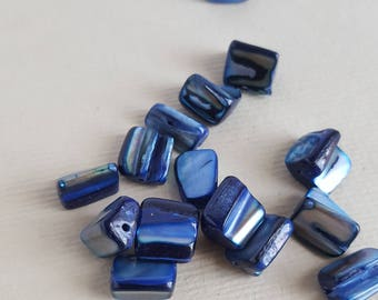 Blue dyed mother of pearl shell nugget beads
