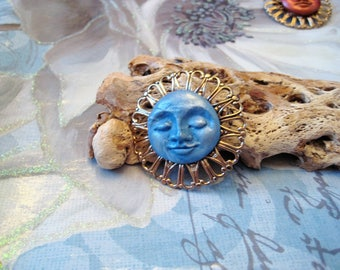 Blue Moon Face pin, brooch, polymer clay, metal, gold, mica, celestial, jewelry, unique