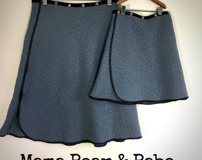 Mommy and me skirts adjustable snap wrap skirts gift Erin MacLeod blue skirt mother daughter women girl matching skirts