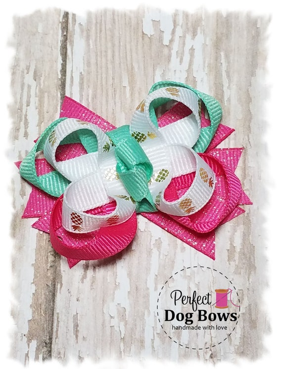Dog Bow, Boutique Style Dog Hair Bow, Pet Bow with Pineapples, Fancy Dog Bow