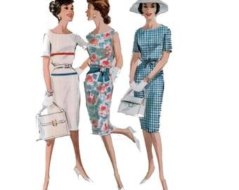 60s uncut Sheath Dress Pattern vintage 34-26-36 Drawstring Waist Dress pattern Cocktail Dress pattern Bust 34 McCalls 6113