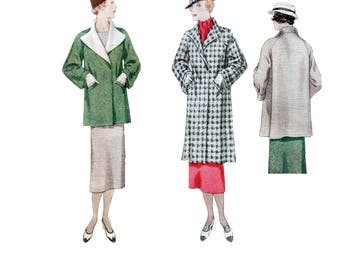30s Coat pattern Wide Lapel Coat pattern vintage 36-30-39 Box Coat pattern Long Coat pattern McCalls 7410 McCall 7410