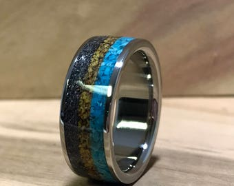 titanium ring turquoise ring meteorite ring dinosaur bone ring wedding ring - Dinosaur Bone Wedding Ring