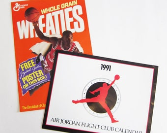 Vintage Michael Jordan Wheaties Poster and Air Jordan Flight Club Calendar 1991 1989 80s 90s Basketball