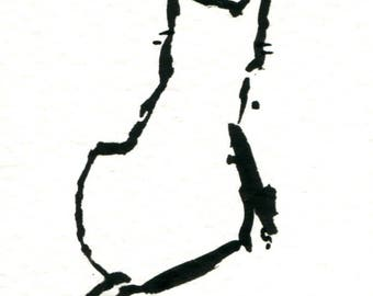 Original Black Cat Gouache Painting ACEO number 170