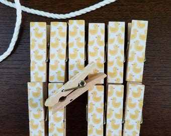 Baby First Baby Shower - Yellow Rubber Duck - Chunky Little Clothespin Clips w Twine for Display - Set of 12 - Gifts Under 10 - Duckies