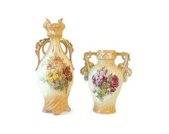 2 Vintage Porcelain Urn Vases, Ornate Yellow with Gold Trim, Floral Design, Austria, Edwardian Victorian Decor, Cottage Chic Display