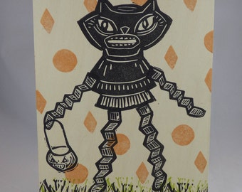 Trick or Treat Retro Halloween Cat Girl one of a kind linocut on wood