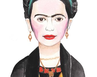 Frida Khalo Print - Frida Khalo Art - Portrait Art - Frida Art - Portrait Print - Frida Khalo Watercolor Art - 8x10 Art Print - Frida Khalo