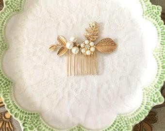 Gold Leaf Hair Comb.Gold Branch Hair Comb.Bridal headpiece.Leaf fascinator.hair accessory.wedding hair piece.Grecian.Crystal.Rhinestone