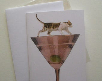Cat on Martini Glass Greeting Card
