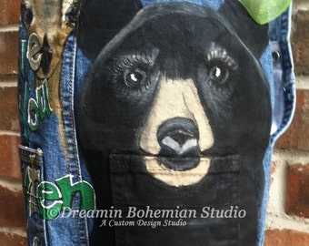Overalls, Custom Painted Boys Birthday Denim Party Outfit, Hunting Fishing Bears Raccoons Boats, Cupcakes Cakes, Toddler Boy Clothing, Son