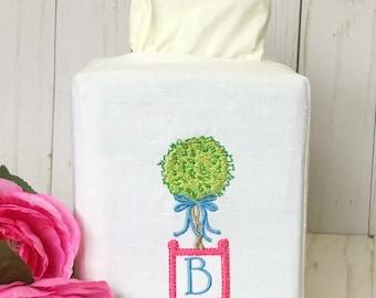 Embroidered Linen Tissue Box Cover. Chinoiserie Topiary Monogrammed Bathroom Decor. Powder Room. Hostess Gift. Nursery Decor. Office Decor