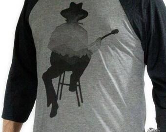 Musician Man, Guitar Player, with Mountains men's Baseball tee