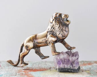 "Vintage Brass Male Lion Figurine - 7"" solid metal wild animal paperweight  - big cat lover gift - safari home decor"