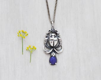 Vintage Sterling Silver Scarab Necklace - beetle between two cobra snakes - Egyptian style pendant with lapis lazuli