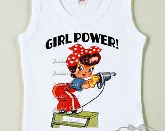 Rosie Girl Power Shirt -  WWII Riveter Shirt - Girl Retro Shirt - 1940's Girl Shirt - Tshirt Vintage Girl Toddler - Red Dot Girl Tee Retro