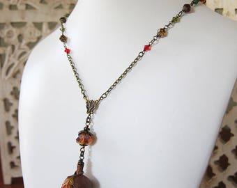 Faery Moss - The Acorn's Secret - Autumn Fall Terrarium Pendant Necklace with Real Reindeer Moss