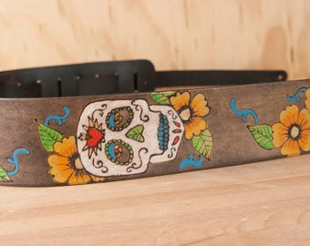 Sugar Skull Guitar Strap - Handmade Leather with Sugar Skulls and Flowers - for Acoustic or Electric Guitars - Yellow, White, Antique Black