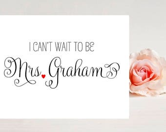 Card for Groom - Fiance Card - I Can't wait to be Mrs. - Wedding Card