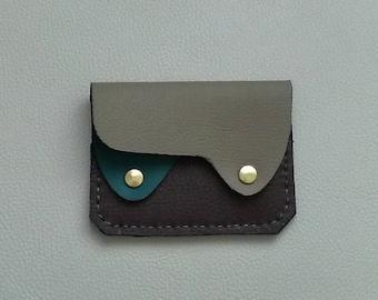 Woodland Camo Leather Wallet, Minimalist Leather Wallet,  Camouflage Leather Wallet, Small Leather Wallet