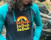Women's Hoodie South Dakota - Women's SoDak Hooded Sweatshirt - SoDak Camping Retro Pullover - Gray & Teal SoDak Hoodie  by Oh Geez! Design