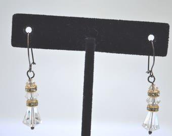 Crystal Earrings, Drop Earrings, Dangle Earrings, Silver Earrings,Art Deco Earrings, Bridal Earrings, Vintage Earrings