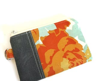 Change Purse No. 1 in Aqua and Orange Roses and Waxed Canvas