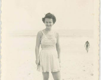 vintage photo 1950s Check Two Piece Bathing suit on cute Young Woman