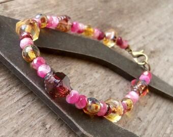 Handmade Jewelry - Beaded Bracelet - Stackable Bracelet - Gift For Her - Boho Bead Bracelet - Bead Jewelry - Pink Bracelet - Pink Series