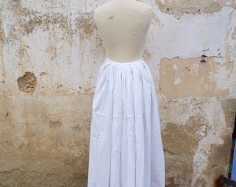 "Vintage Antique  French Victorian 1890/1900s white cotton ""faux cul""  long skirt petticoat size XS"