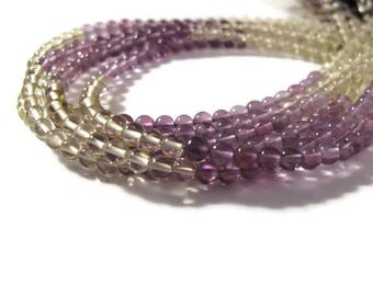 Amethyst and Lemon Quartz Beads, Smooth Natural Gemstones, 3mm - 4mm Rounds for Making Jewelry (S-Mix4)