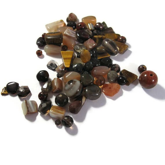 Brown Gemstone Bead Mix, Gemstone Grab Bag, 70 Beads for Making Jewelry, Assorted Shapes and Sizes (L-Mix20c2)