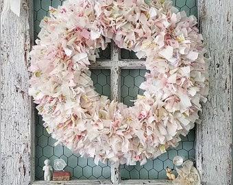 """Wreath, Fabric Wreath, Pink Wreath, Rag Wreath, Woodland Wedding, Sweethearts Table, Baby Shower, Bridal Shower, Shabby Chic Nursery, 19"""""""