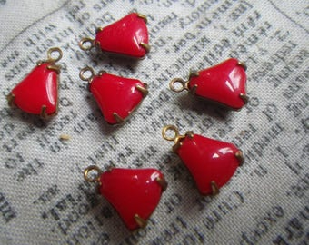 Opaque Bright Red Vintage Unfoiled Cab Top Glass Bell Brass Ox Drops One Loop 8mm 6 Pcs