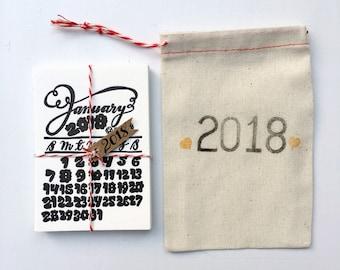 2018 Calendar Seconds SALE, Mini Letterpress Calligraphy Calendar with Magnet Clip, Original Hand Lettering