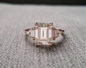 "Upgraded larger E-F Antique Moissanite Diamond Engagement Ring Emerald Cut Baguette Classic Rose Gold timeless PenelliBelle  ""The Margo"""
