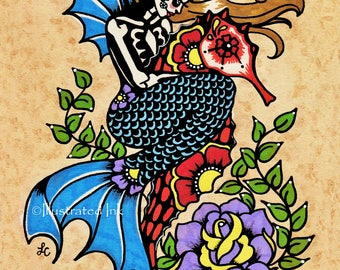 Day of the Dead Art MERMAID and SEAHORSE Dia de los Muertos Print 5 x 7, 8 x 10 or 11 x 14