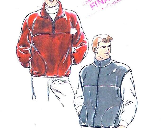 Mens Fleece Jacket vest sewing pattern Autumn Fall Winter casual jacket Kwik Sew 2531 Size Small to XXL