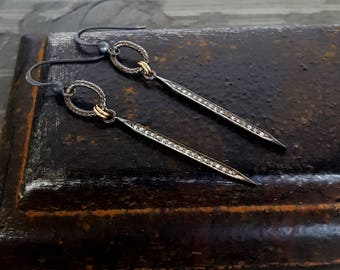 Determination. Diamond Spike Earrings, Oxidized Silver Pave Diamond, Black Ring Circle Oval Point, Oxidized Silver Gold, Diamond Point Bar