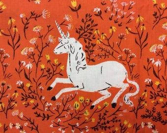 Unicorn in Orange - Heather Ross Far, Far Away Reprint Fabric - 1/3 Yard