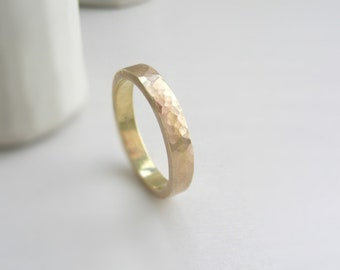 14 k Solid Gold Hammered Wedding Band 4 mm x 1.5 mm