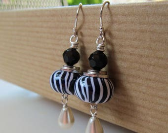 Zebra - Black and White Zebra Print Polymer Clay, Swarovski Crystal and Pearl Beaded Sterling Silver Earrings - BeadedTail - Tuxedo