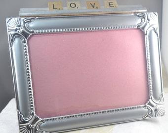 LOVE Silver Frame - Scrabble Tile Word Love - Wedding Frame - Engagement Frame - Valentine Frame
