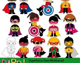 Superhero clipart - superhero class multiracial commercial use graphics - kids, boys girls cute clip art - students, children clip art